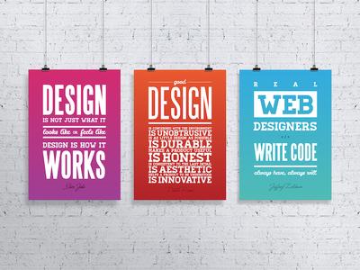 Design quote posters print subtle gradient typography jeffrey zeldman dieter rams steve jobs inspiration quote design poster