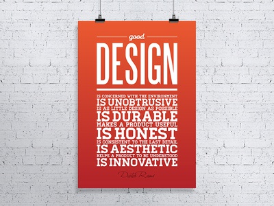 What Design Is Good Design poster print subtle gradient typography quote inspiration dieter rams poster good design