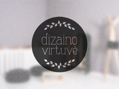 Dizaino Virtuvė logo logo kitchen interior design boutique circle round bay leaves leaf twig dizaino virtuve
