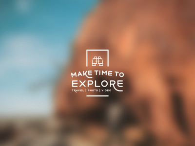 Make Time To Explore binoculars cool r typography icon flat simple logo travel