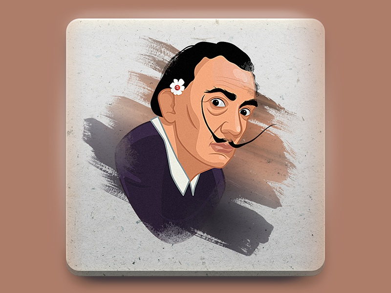 Salvador Dali sticker illustration character design character portrait sticker design sticker art vector photoshop 2d artist design 2d art illustration