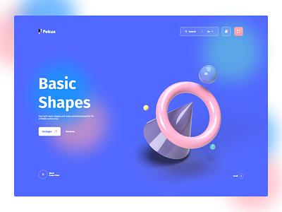 3D Basic Shapes shapes pink gradient clean 3d illustration 3d design minimal simple hero header web design blue website web desgin web application landing page render 3d ux ui