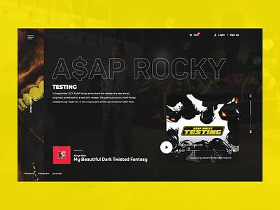 HoboLunch asap rocky yellow music black website webpage design web desgin web application landing page inspiration web ux ui design