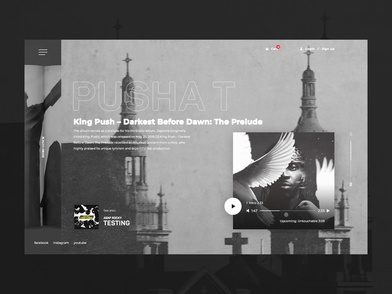 HoboLunch rap grey black  white black and white black website webpage design web desgin web application landing page inspiration web ux ui design king push pusha t