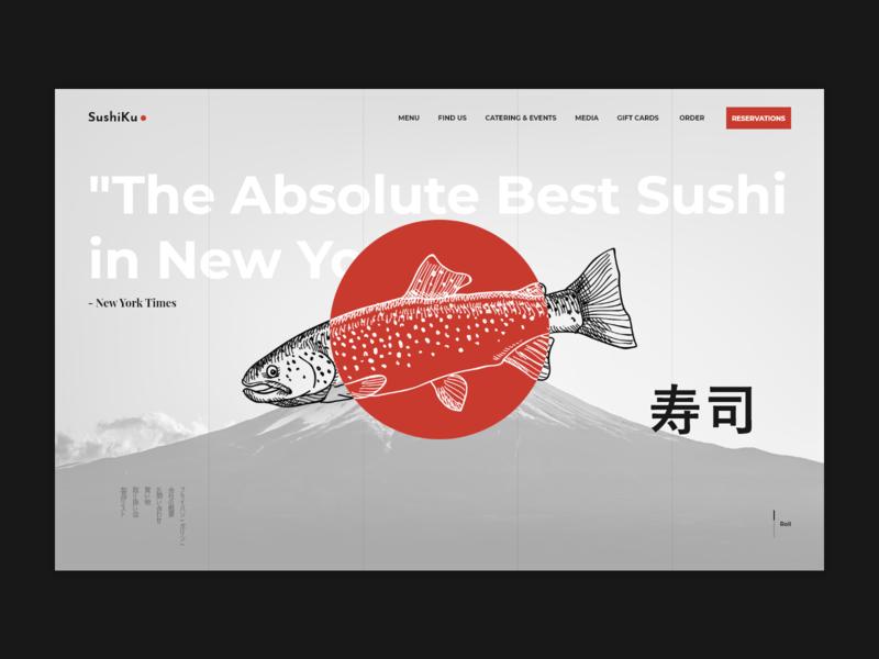 SushiKu japan japanese food sushi fish red grey black  white black and white black website webpage design web desgin web application landing page inspiration web ux ui design
