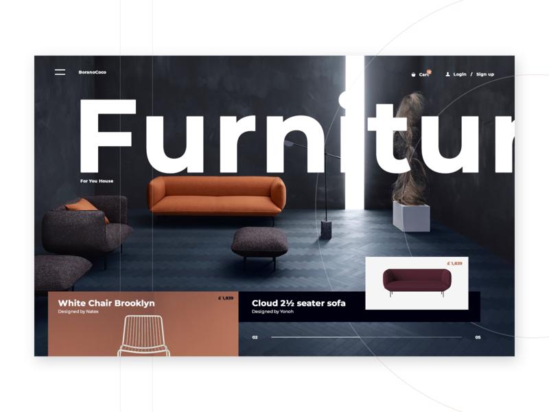 BoranoCoco fashion blue orange white furniture website webpage design web desgin web application landing page inspiration web ux ui design