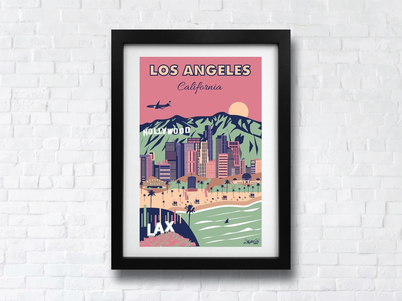 Vintage Los Angeles Poster city poster city of angels illustration print usa los angeles palm trees design art california