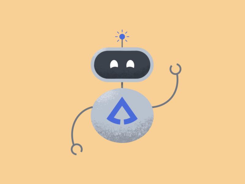Hi, I'm Sprucebot robot character illustration branding