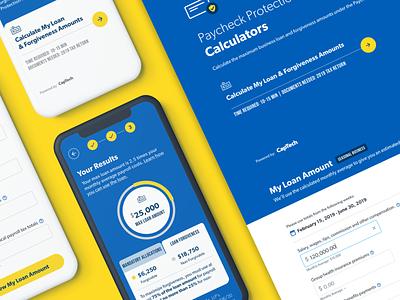 PPP Loan Calculator yellow calculator calculator ui visual design design website web typography blue app icon ux ui