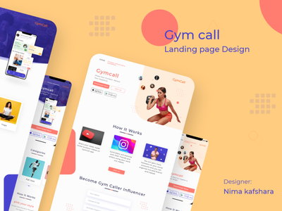 Gymcall landing page minimal design adobe photoshop ux ui graphic design branding adobe xd