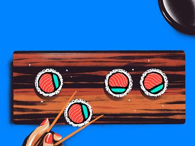 Sushi Day procreate blogillustration food japan blue drawing illustration sushi