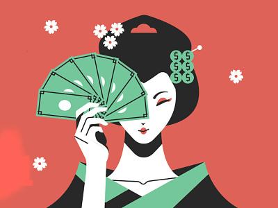 VUO Brand - Geisha money geisha japan vector character colors design illustration drawing