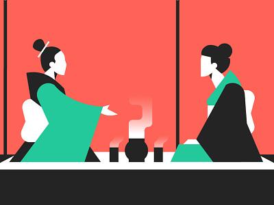 VUO Brand - Té colors blogillustration japan vector character design illustration drawing