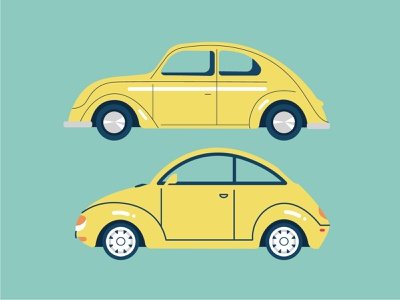 Beetle evolution clean cars vector drawing illustration