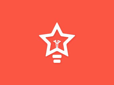Startup incubator logo concept company red bright brighten ideas star bulb light concept logo startup