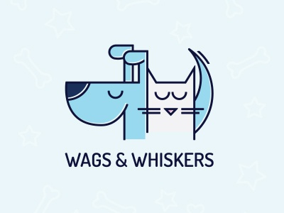 Wags & Whiskers animals store shelter pet kitty puppy wags whiskers logo dog cat