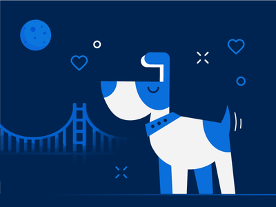 San Francisco Doggie vet san pet night moon midnight golden gate francisco doggie dog california