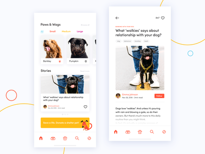 Dog Donation App Concept ios cards tag iphone x article paw concept mobile ux ui donation miquido adoption pet dog app