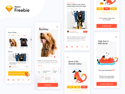 Dog Donation App Concept - Sketch freebie 💎 ios icons free paw iphone x miquido minimal ux shelter sketch freebie ui dog donation app pet mobile