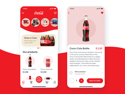 Coca-Cola App Concept user experience design user interface design user experience user interface coca-cola mobile app design mobile app mobile ui design mobile concept app design app