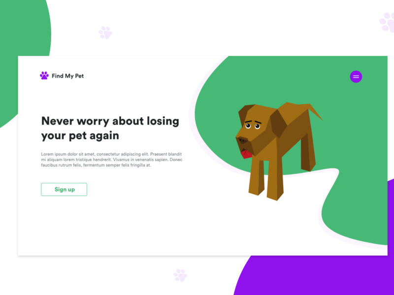 Find My Pet Landing Page