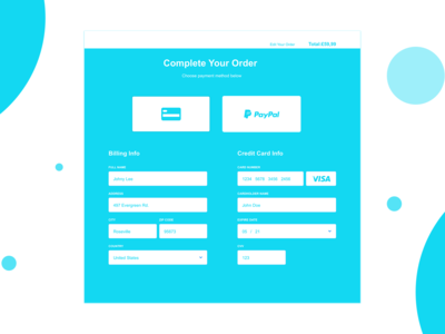 Daily UI - Day 002 - Credit Card Checkout