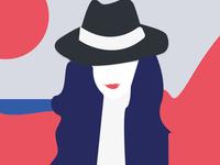 Flat Design- Woman in Hat