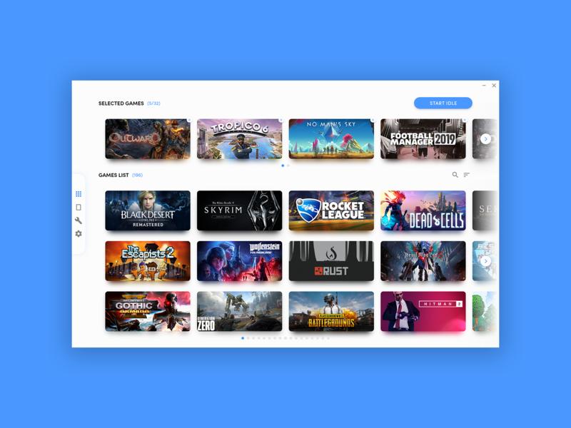 Idler Games List ux ui minimal design application app