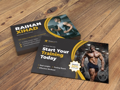 Gym Business Card branding promotion gym flyer health ramba zumba yoga fitness card gym business card business card fitness gym