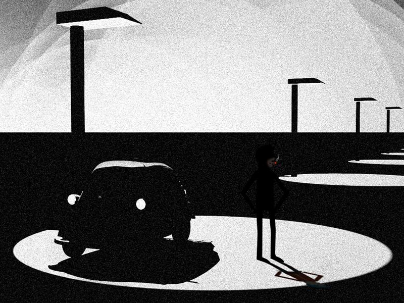 Film Noar character film noir black and white car film