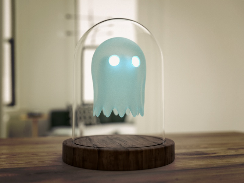 Ghost under Glass pacman dome spooky glass character octane render octane cinema4d c4d 3d ghost