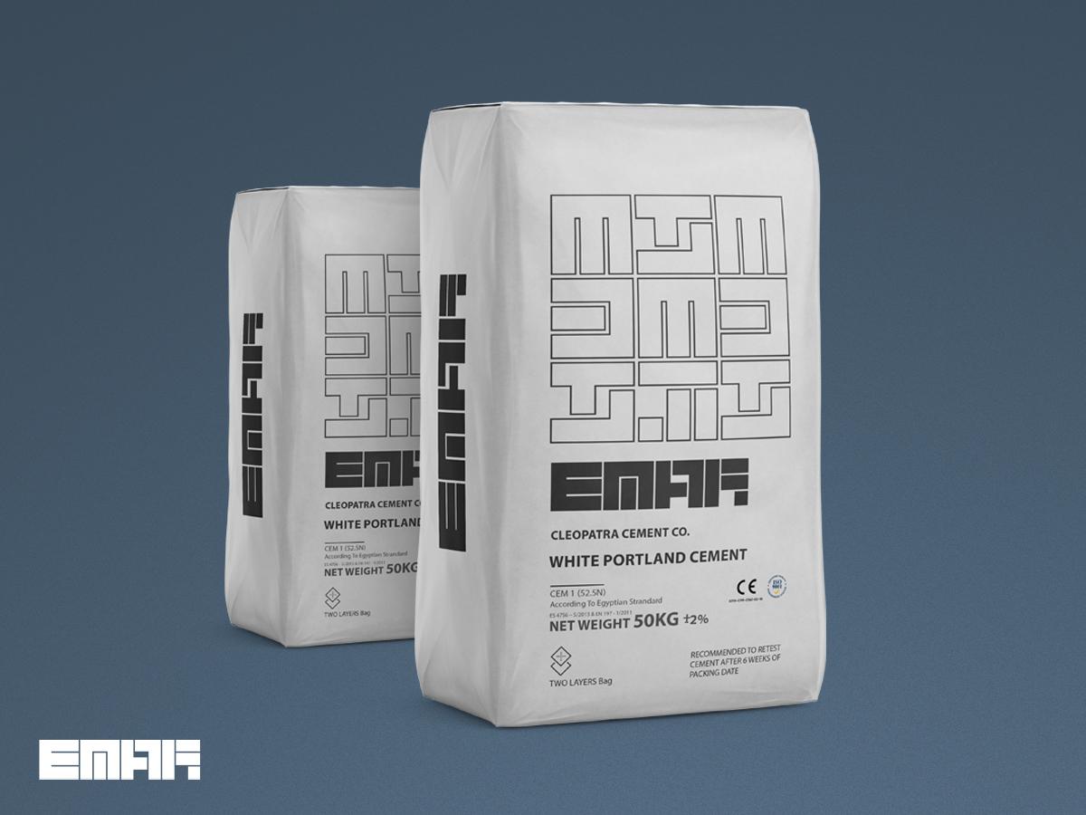 Emar cement pack design cement cairo packaging clean digital flat type logo design icon logo vector graphics graphic design art typography illustrator illustration branding identity design