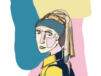 The Girl With The Pearl Earring- Abstract Sketch