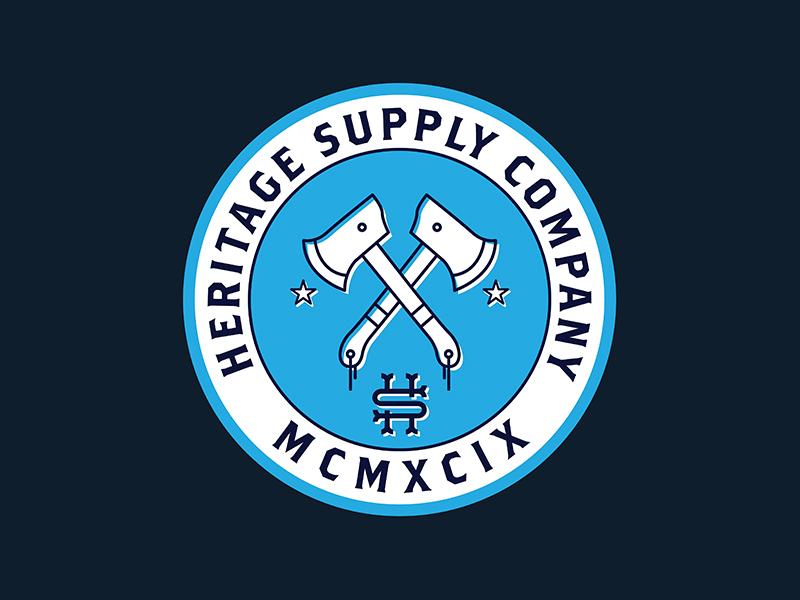 Heritage Supply branding supply heritage axe illustration blue badge logo suppy
