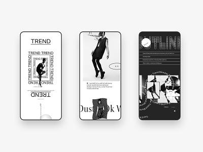 Trend Monster Mobile clean brutalist typography type mobile ui fashion trendy mocktober