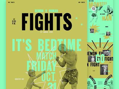 Man vs Monster - It's Bedtime color typography type vintage fight boxing ufc website mocktober