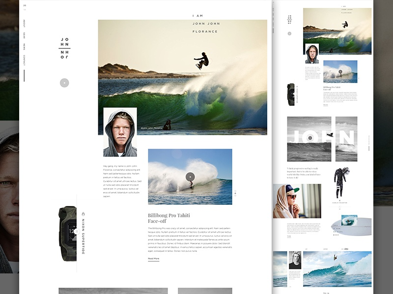 John John Full creative direction art direction surf watch athlete surfing vertical type im jack dusty sports magazine e-commerce ecommerce