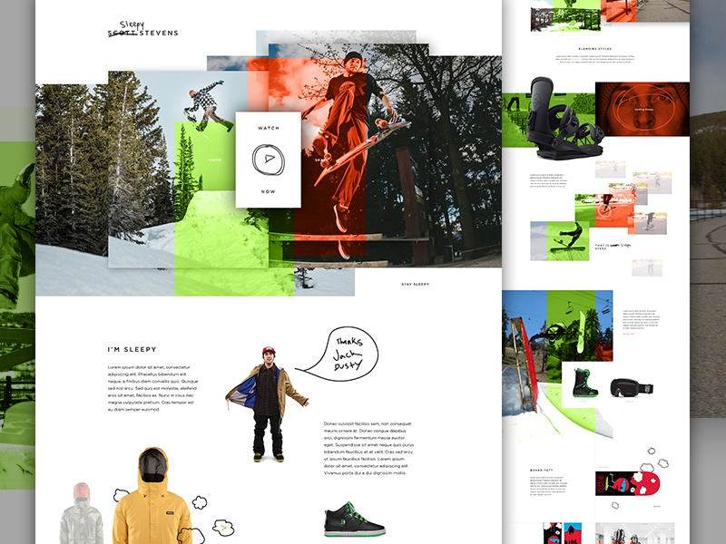 "Scott ""Sleepy"" Stevens creative direction art direction im jack dusty e-commerce web design snowboard skateboard hand drawn landing exploded grid ecommerce"