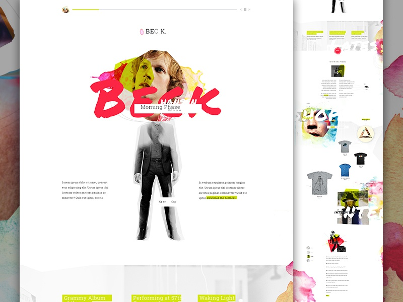Beck creative direction art direction watercolor ecommerce e-commerce musician im jack dusty music artist album collage type