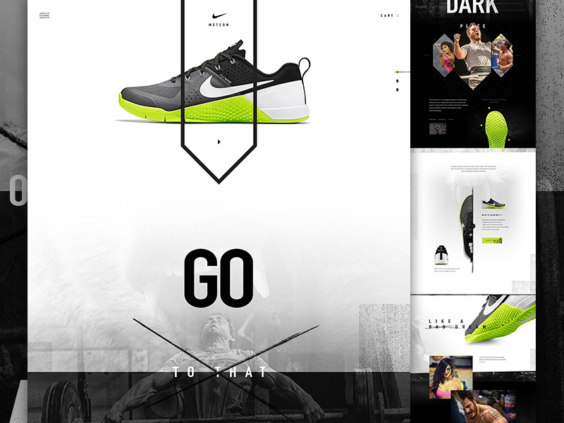 Nike Metcon creative direction art direction nike im jack dusty shoe e-commerce ecommerce shop landing grunge texture crossfit