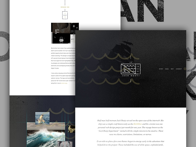 Jack Dusty Live creative direction art direction exploded grid nautical single page landing portfolio grunge waves im jack dusty