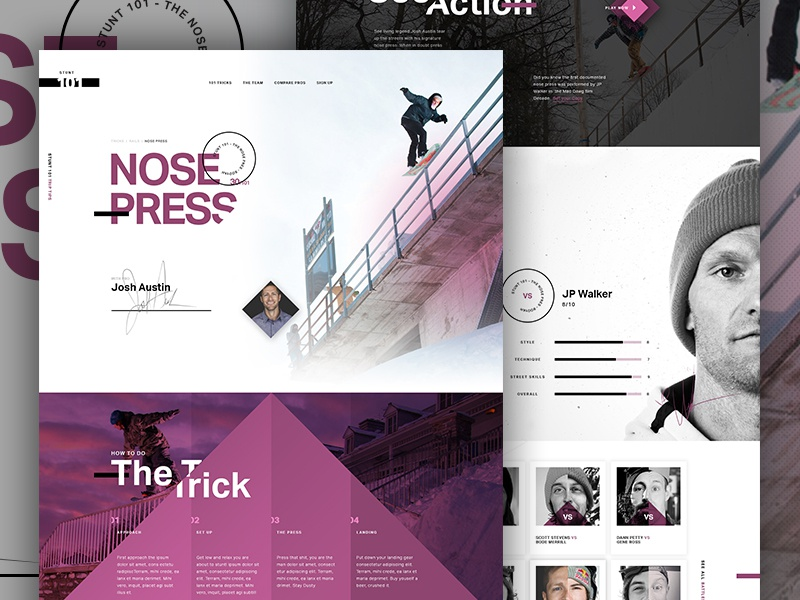 Nose Press art direction creative direction angles athlete compare sports im jack dusty swiss grid type snowboard