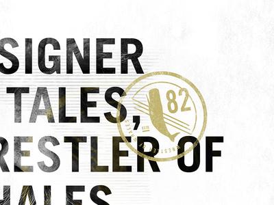 Designer of Tales, Wrestler of Whales deck nautical texture grunge presentation talk type badge whale im jack dusty