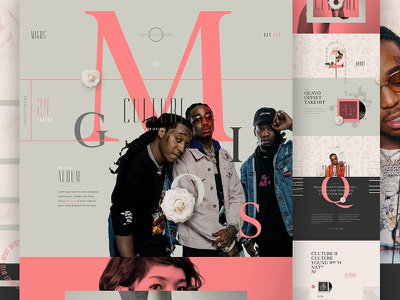 Migos pink pattern flowers landing album ecommerce e-commerce type migos music