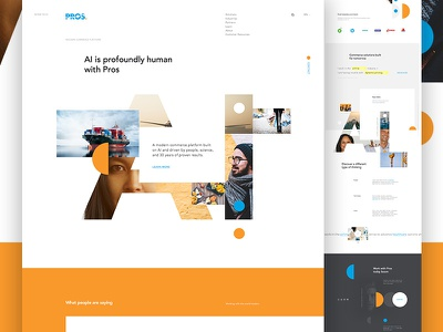 Pros ui white space business b2b geometric artificial intelligence grid type web landing