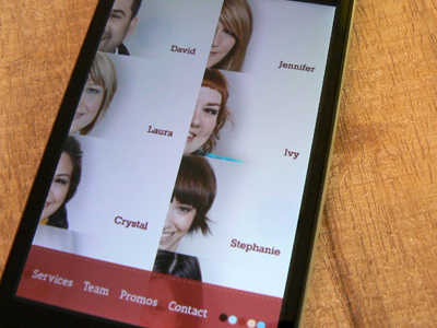 Salon Team Page elegant seagulls iphone mobile app clean team salon phone
