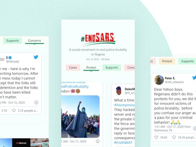 endSARS Tweet Collation website ux flat ui web typography design