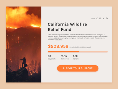 Daily UI #032 Crowdfunding Campaign Dribbble social california wildfire tracking crowdfunding fundraising web design dailyui ux design ux design ui design ui