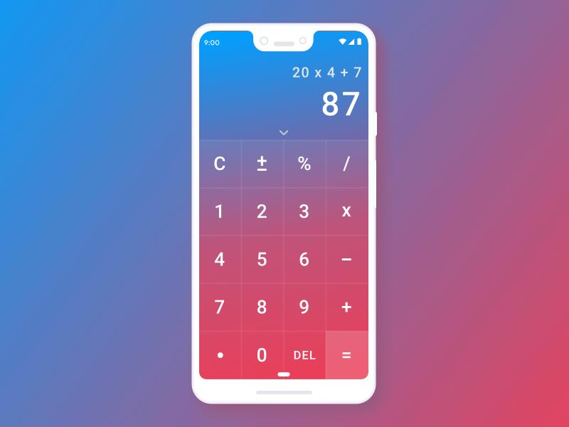 Daily UI #004 android pixel 3 color gradient sketch mobile ui mobile app design mobile digital dailyui004 dailyui calculator
