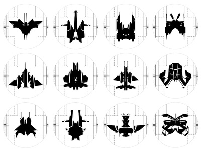 Spaceships black white lucas characters argentina morphology spaceship